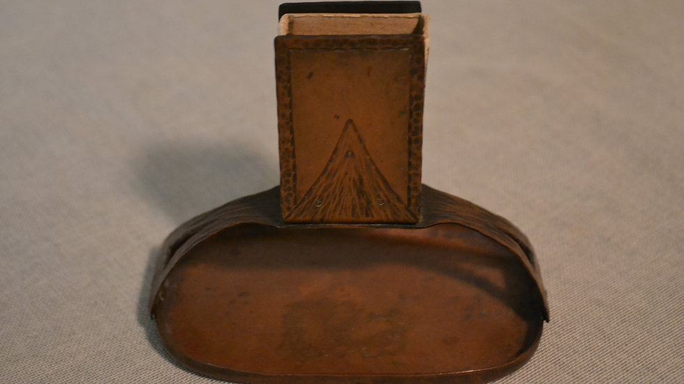 Roycroft match holder , hammered copper and rivets