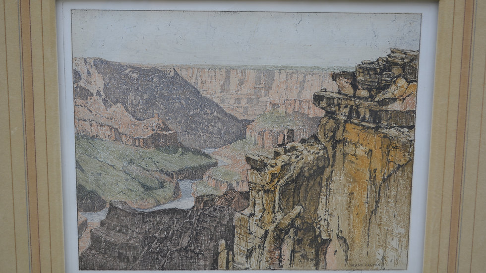 Colored etching by J. Eidenberger of the Grand Canyon
