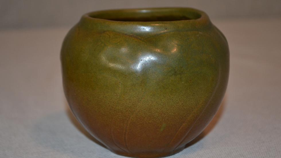 Van Briggle Squat Vase,  Matte green & brown