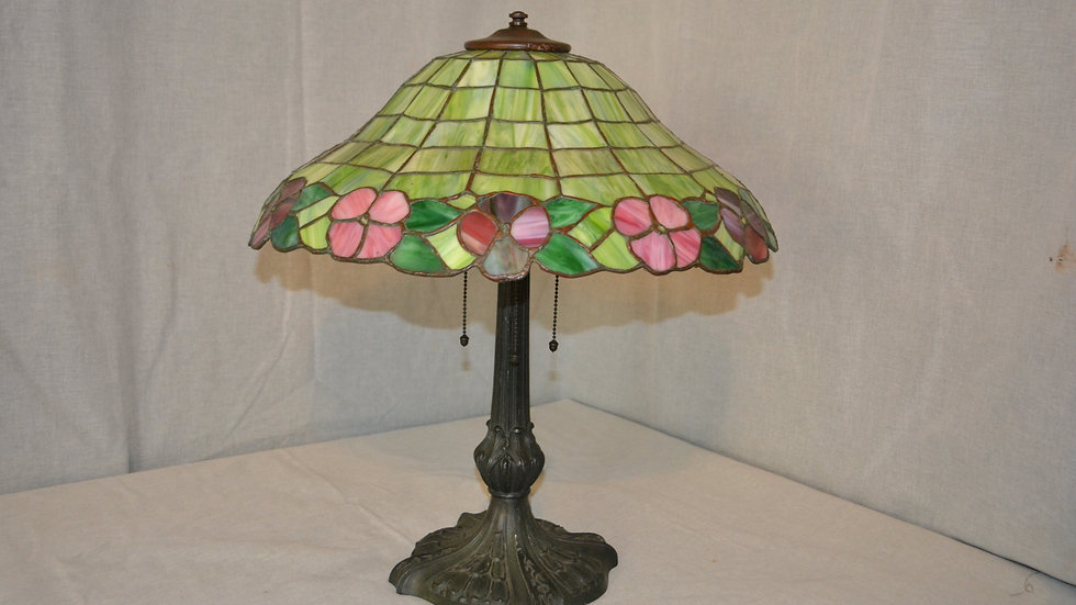 Chicago Mosaic lamp with leaded glass bell shaped shade.