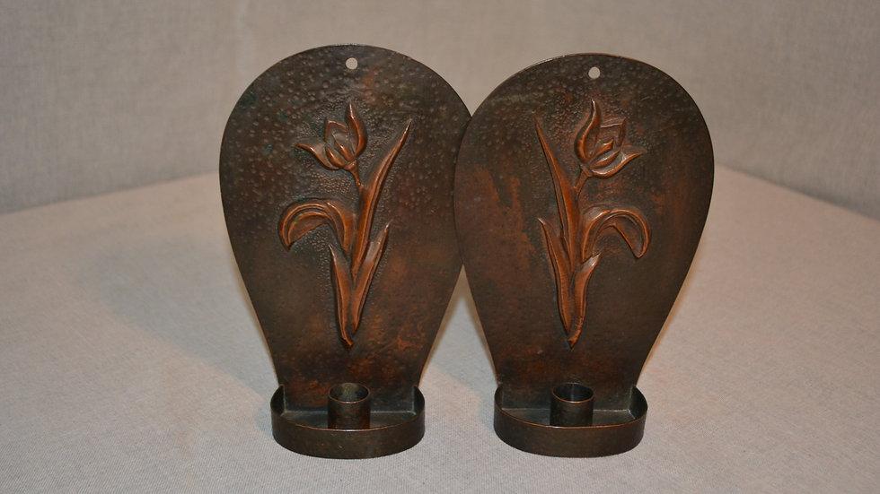 Wall sconces,  pair, tulip design, original patina