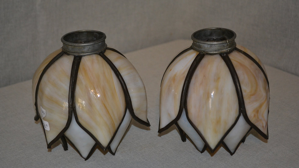 Handel shades, pair,  leaded glass in Tulip style