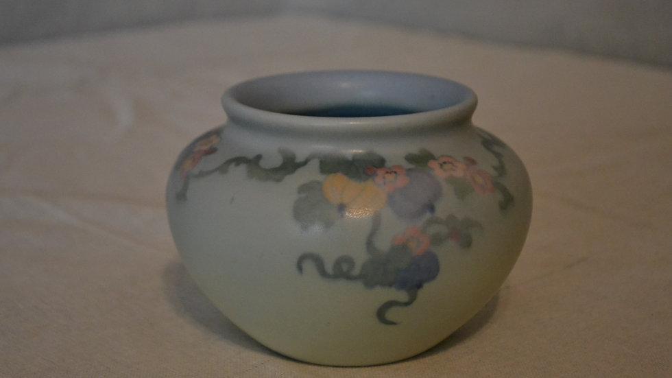 Rookwood vellum, squat vase w/ floral decoration
