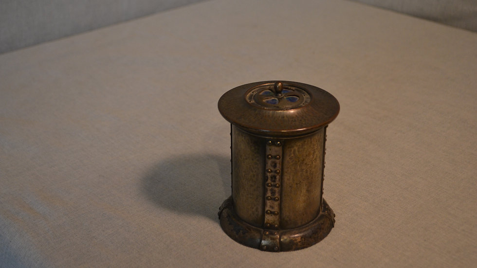 Small hammered and riveted pewter container w/ blue enamel