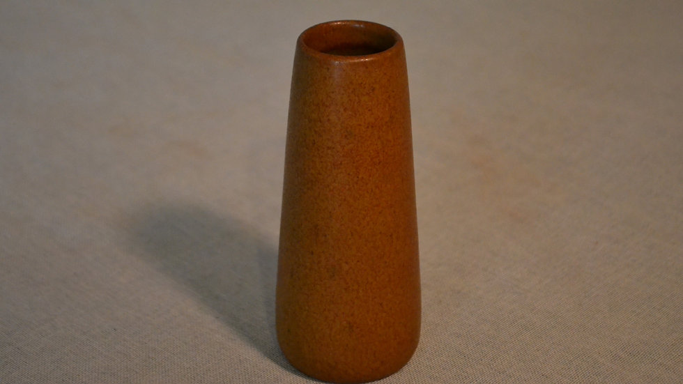 Marblehead Small bud vase,  speckled brown, signed