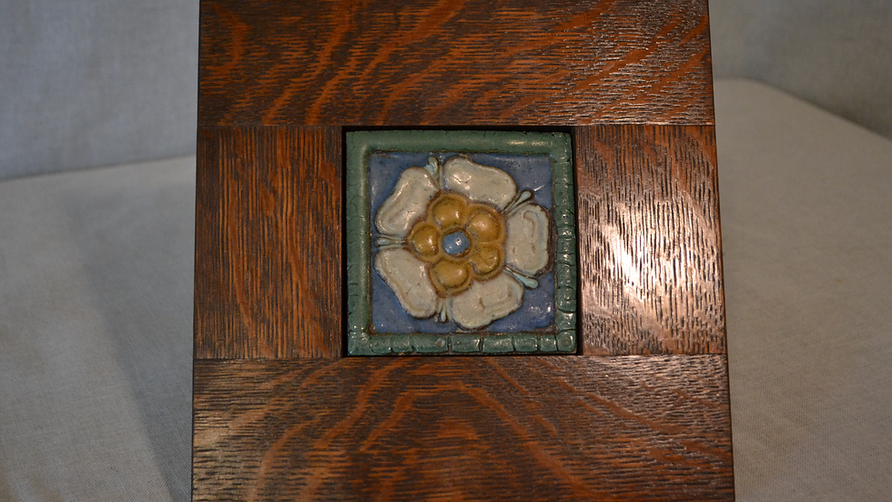 Grueby Tile,  small floral w/ several colors