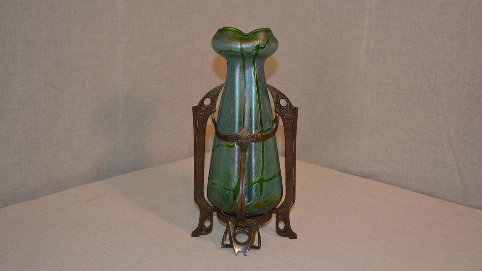 Art glass vase with bronze mounts.  Attributed to Loetz