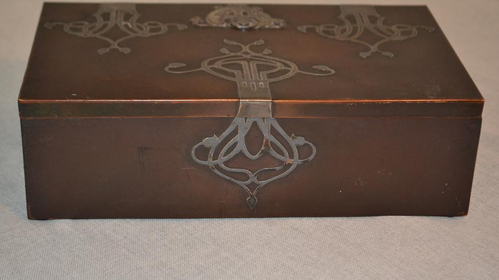 Heintz humidor, silver & bronze, original patina