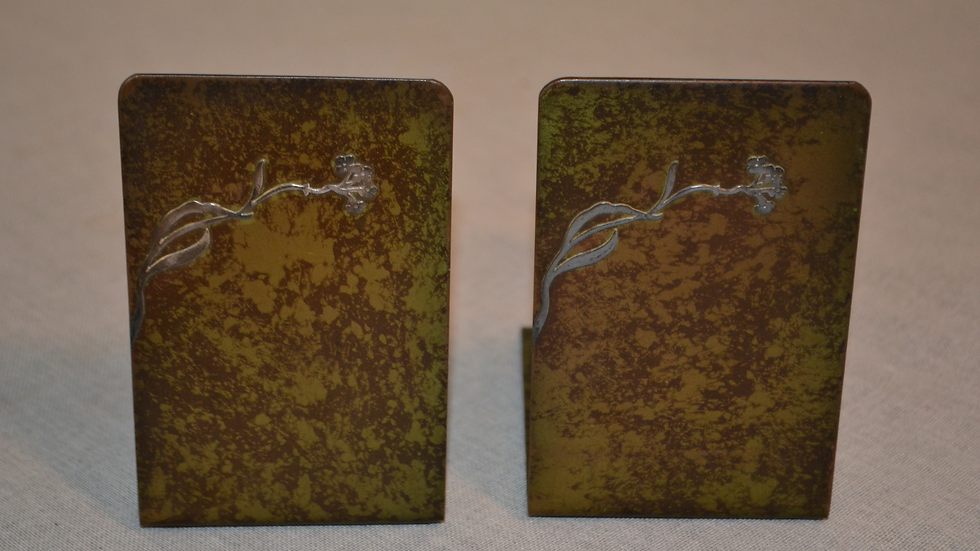 Heintz Bookends, pair, silver and bronze, green patina