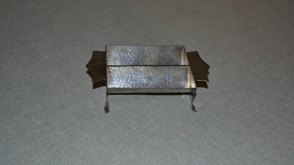 sugar cube holder.  hammered silver,   Marshall Fields