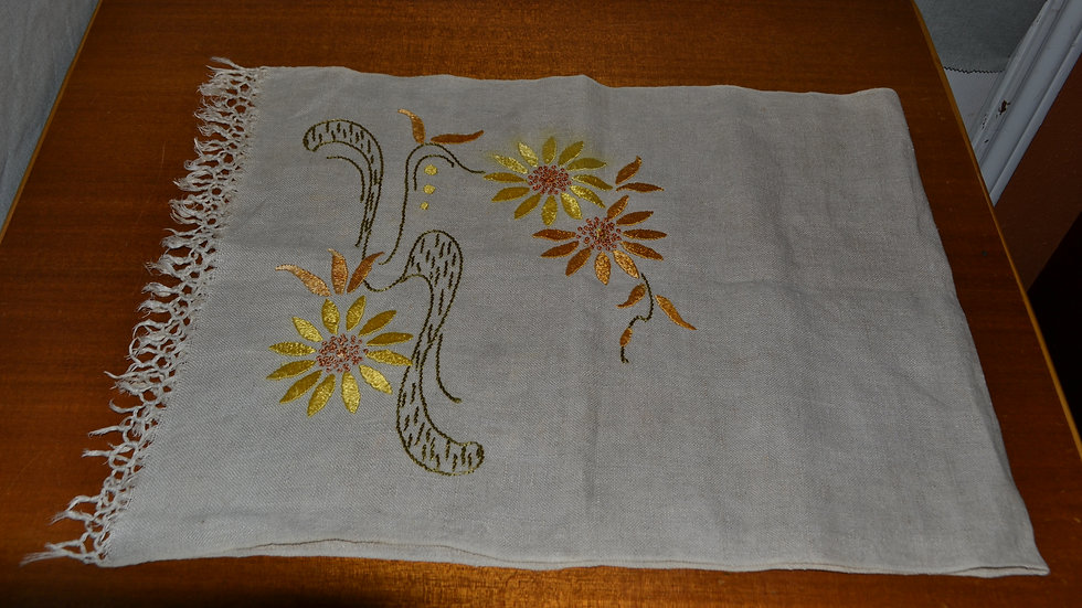 Floral runner, Linen in colors of gold & brown