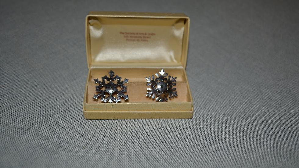 sterling pins (pair), snowflake design