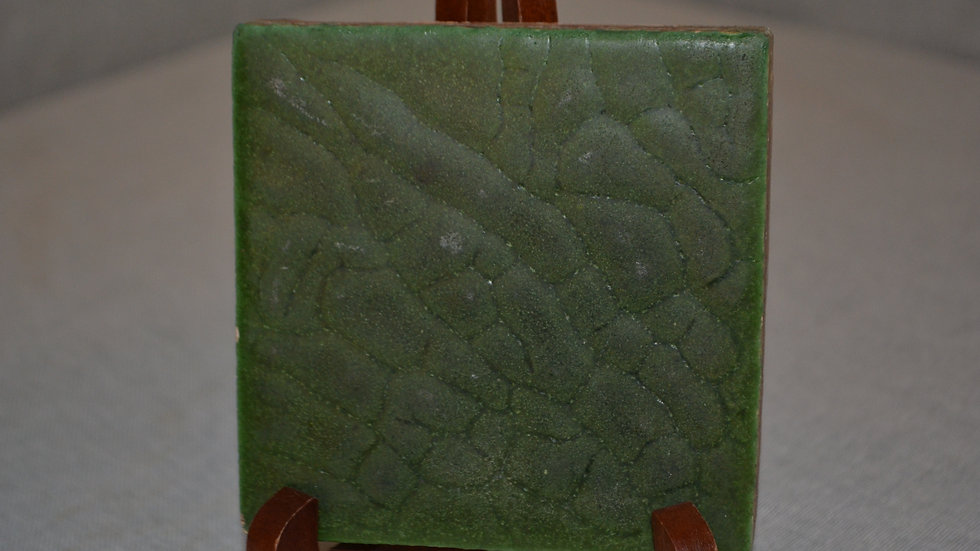 Grueby tile, undecorated w/excellent green glaze