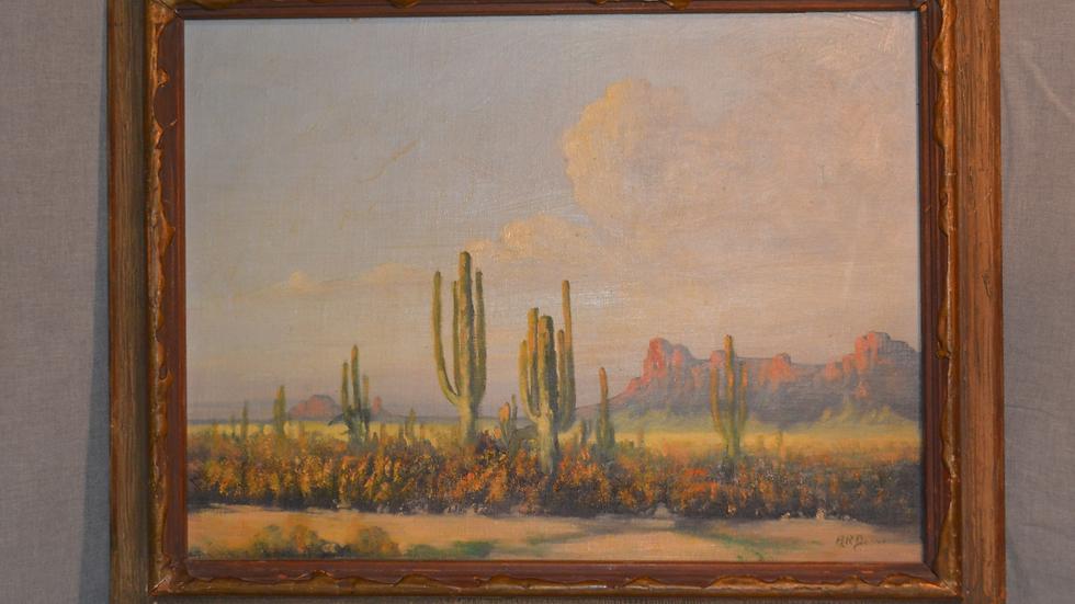 Desert Landscape Painting, oil on board,   by A R Drew.