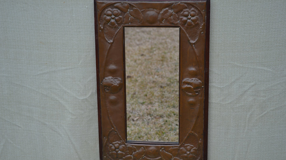 mirror, hammered copper over walnut frame, English.