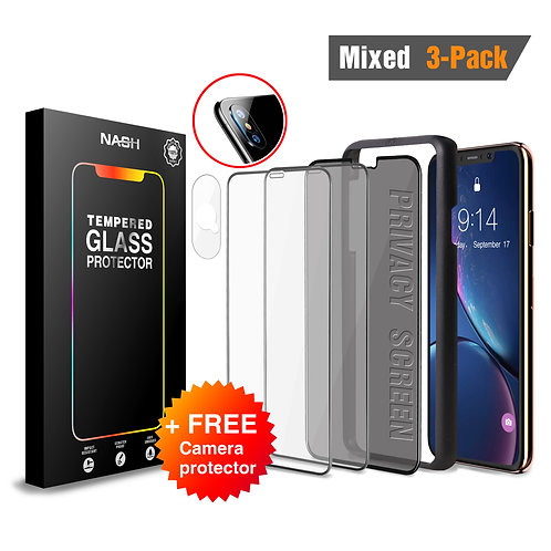 NASH Screen Protector Set for iPhone XS Max [Mixed 3-Pack + Camera Shield]