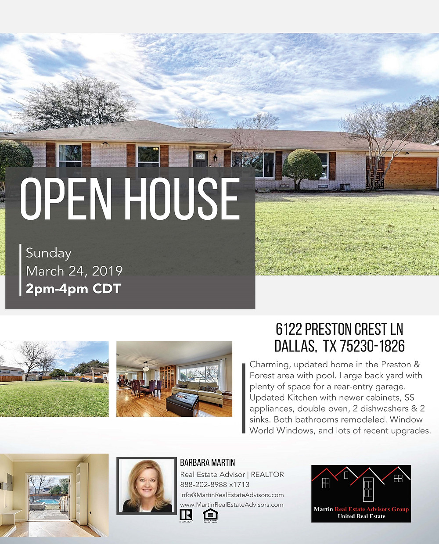 6122 Preston Crest Ln, Dallas, TX 75230 Open House