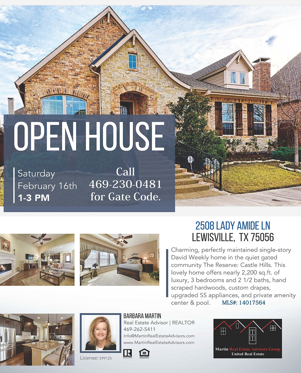 2508 Lady Amide Ln, Lewisville, TX 75056 | Open House | Martin Real Estate Advisors Group | United Real Estate