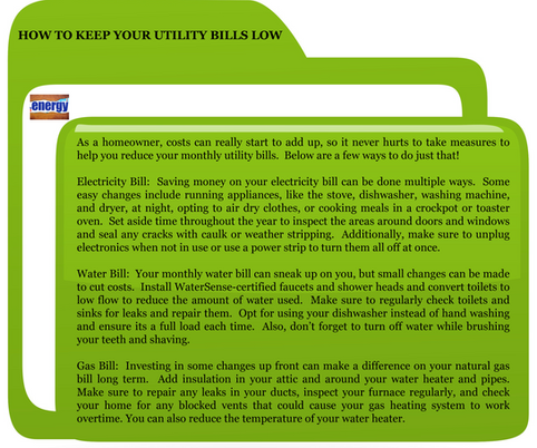 How To Keep Your Utility Bills Low!