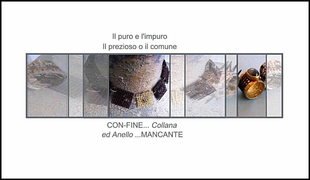 Microfficina gioielli contemporanei. Anello e collana in ferro e oro puro