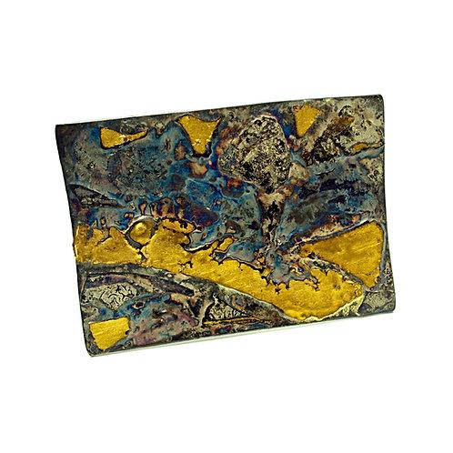 Spilla in oro puro e argento Mokume Gane. Vendita online Gioielli Artigianali