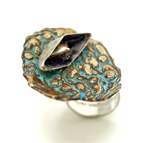 Vendita online. Anello in argento e bronzo.  fusione in osso di seppia