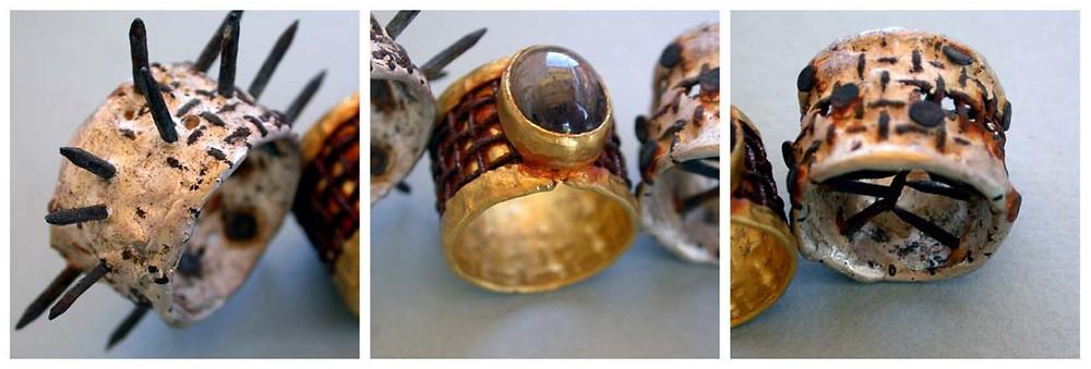Microfficina gioielli artigianali. Anello in oro puro e ferro.