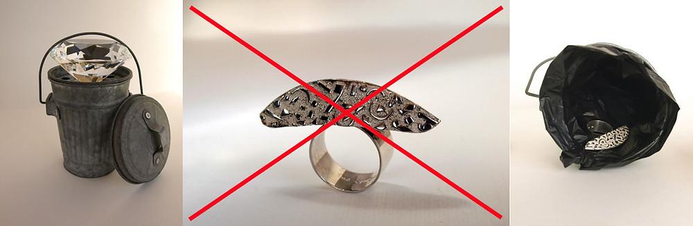 Ready made e anello in argento 925%. Gioielli artigianali
