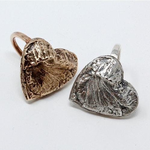 Anello cuore in argento e bronzo. Shop online