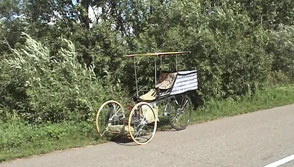 Трехколесный велосипед с толкательным приводом