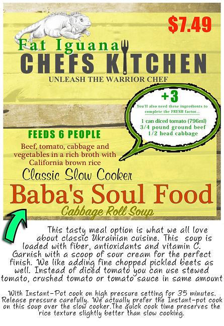 Baba's Soul Food - website description .