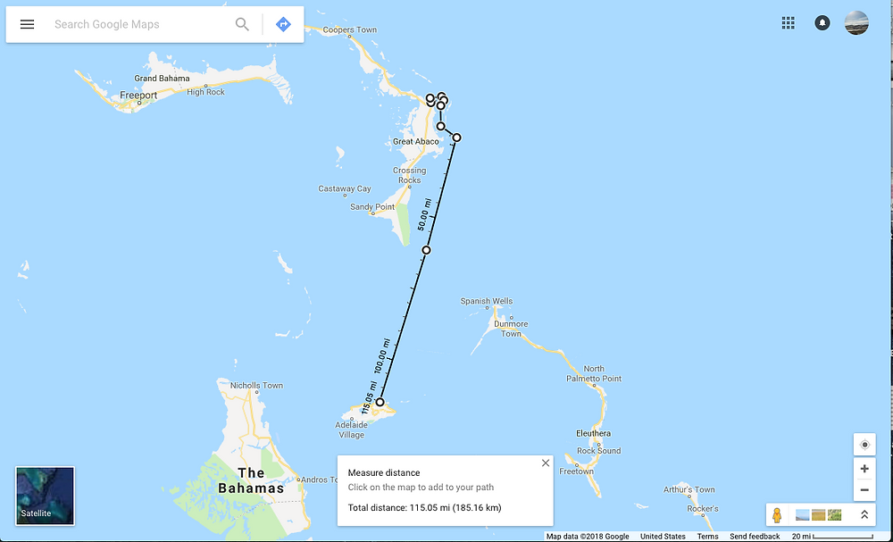Sailing Route from Marsh Harbour to Nassau