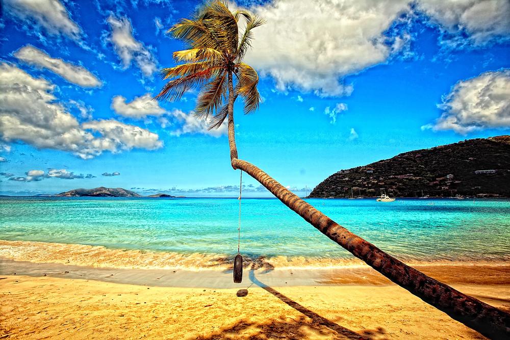 Blue sky, blue water beach in Tortola