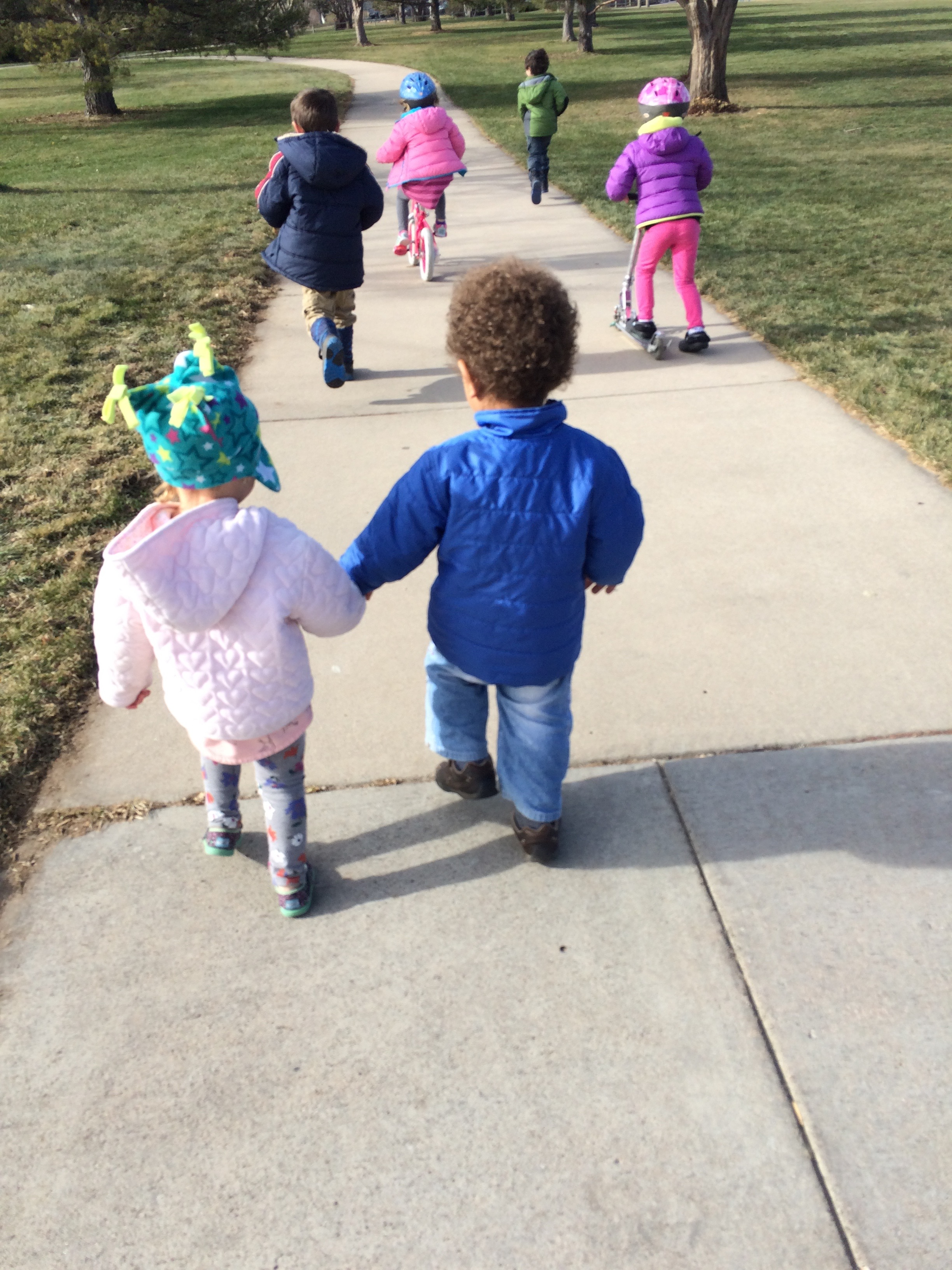 Children walking to playground