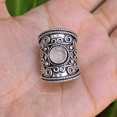 925 Sterling Silver Rose Quartz Ring