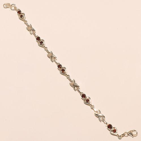 Red Garnet Sterling Silver Bracelet