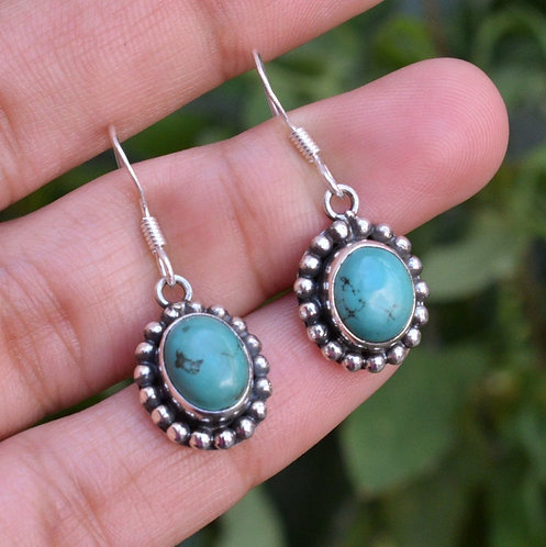 Natural Turquoise 925 Silver Earrings