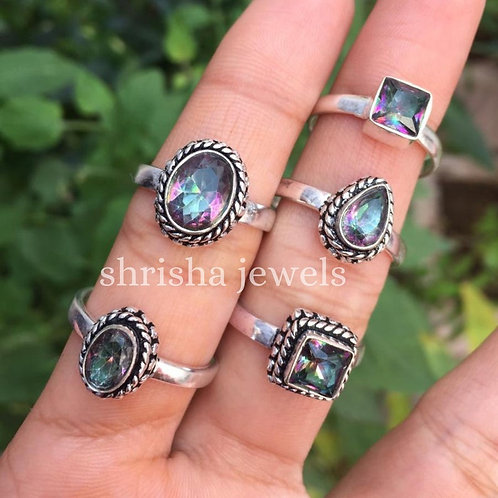 Mix Style Silver Plated Wholesale Mystic Topaz Rings