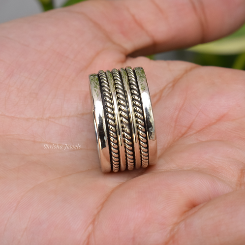 Spinner Ring, Solid 925 Sterling Silver Anxiety Ring, Fidget Ring