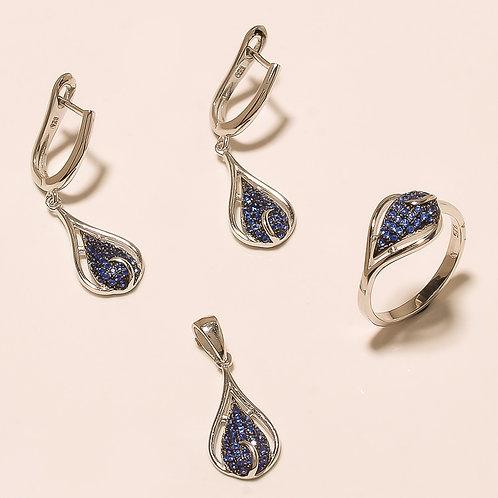 Sterling Silver Tanzanite Gemstone & Zircons Pendant Set Jewelry
