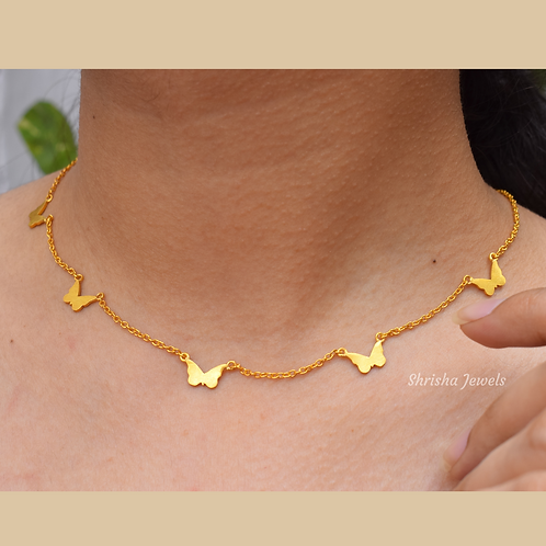 Butterfly Necklace, Minimalist Gold Plated Ladies Delicate Butterfly Necklace