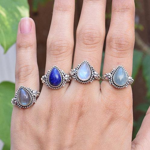 925 Sterling Silver Semi Precious Gemstone  Rings