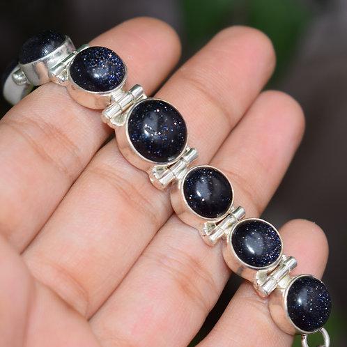Blue Sunstone Sterling Silver Bracelet