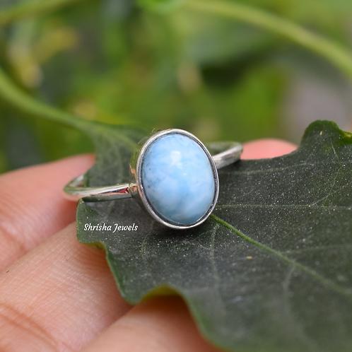 Natural Larimar 925 Silver Dainty Ring