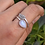 Thumbnail: Natural Pear Moonstone & Leaf 925 Silver Ring