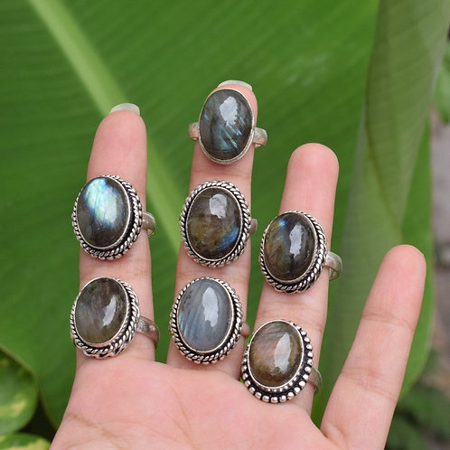 Mix Style Silver Plated Wholesale Labradorite Rings Excellent Quality