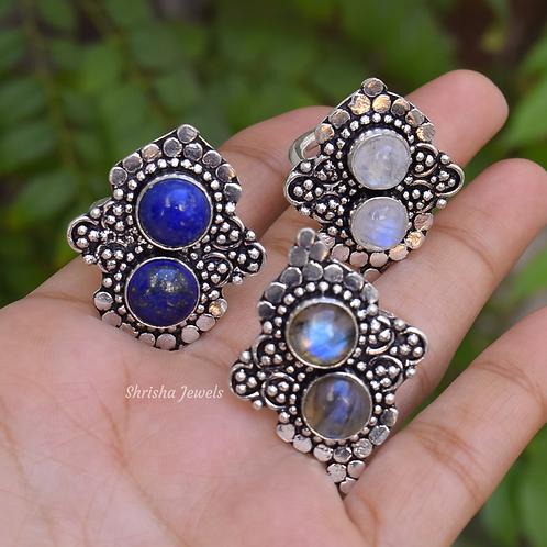 Moonstone, Lapis, Labradorite 925 Sterling Silver Ring