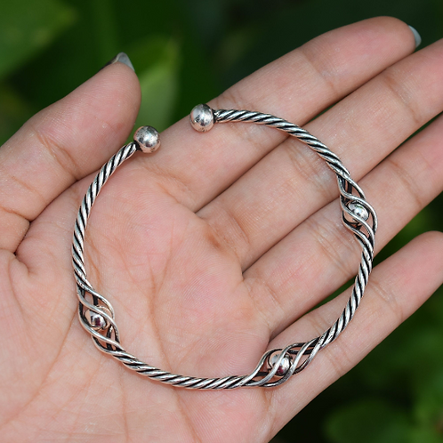 Sterling Silver Oxidized Twisted Bracelet