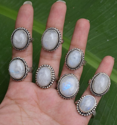Mix Style Silver Plated Wholesale Moonstone Rings Excellent Quality