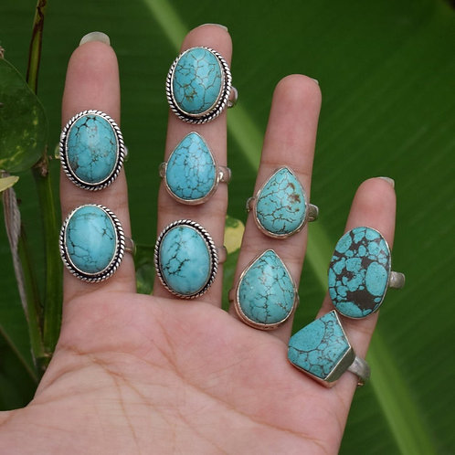 Mix Style Silver Plated Wholesale Turquoise Rings